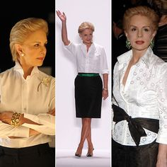 Carolina Herrera - the power of tailored white blouses.
