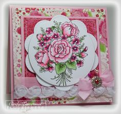 handmade card ... gorgeous ... Roses are Red ... roses and violets in a lovely boquet ... great stamp for Copic coloring ... red, white & pinks ... Flourishes ...