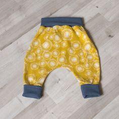 Sarouel bébé évolutif legging  jersey de coton jaune moutarde pissenlit et bleu gris 3-6 mois