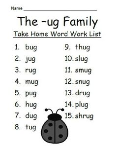 Best Practices 4 Teaching Literacy: Fern Smith's The -ug Family Spelling {Word Work} Lists & Tests Phonics Reading, Teaching Phonics, Kindergarten Reading, Preschool Learning, Teaching Reading, Teaching Spanish, Fun Learning, Phonics Rules, Phonics Words
