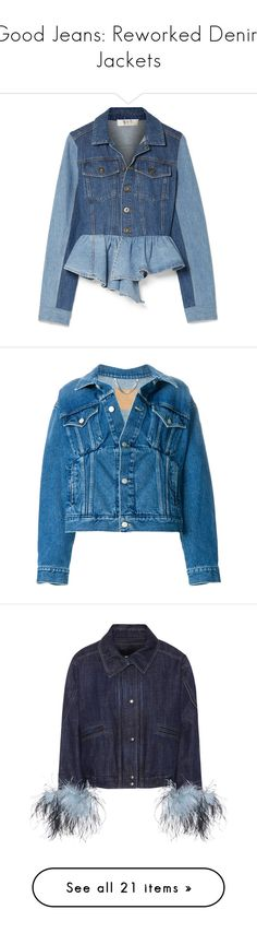 """""""Good Jeans: Reworked Denim Jackets"""" by polyvore-editorial ❤ liked on Polyvore featuring reworkeddenimjackets, outerwear, jackets, blue, asymmetrical jackets, blue jean jacket, jean jacket, peplum denim jacket, two tone denim jacket and denim jackets"""