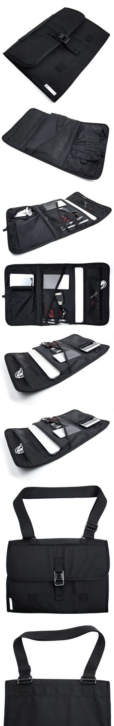 "Our Portfolio is designed for the individual that prefers the carry size of a laptop sleeve with additional functionality and storage for small accessories. This case can hold up to a 13"" slim laptop or tablet (including iPad Pro and Microsoft Surface Pro) as well as the power supply and other small cables and accessories. With a Fidlock® magnetic closure, this case can be carried a variety of ways including a hand strap and removable shoulder strap. Made in USA"