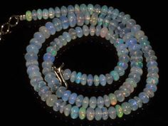 Natural Ethiopian Welo Opal Gemstone Rondelle Plain Beads 74 Cts Necklace #5009