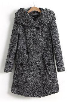 Grey Plain Buttons Pockets Long Sleeve Wool Coat