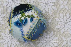 CQJP 2014 - June Pincushion - Ivory Blush Roses