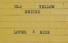 """Old yellow Bricks, Love's a risk, quite the little escapologist. Looked so miffed when you wished for a thousand places better than this"" -Arctic Monkeys, Old Yellow Bricks"