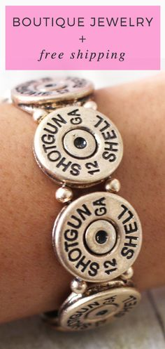 Shotgun Shell Casing Stretch Bracelet | County Girl | Jewelry | elleandk.com