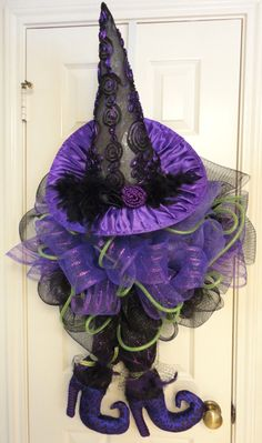 Witch Hat/Shoes Halloween Wreath by RamonaReindeer on Etsy, $75.00