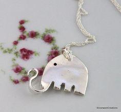 SMALL ELEPHANT Pendant SILVERWARE Jewelry by SilverwareCreations, $24.00