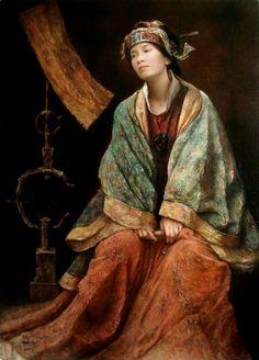 Tang Wei Min Tang Wei Min was born in 1971 in Yong Zhou, Hunan Province of China. In Wei Min graduated from the Art Depa. Art Gallery, Art Asiatique, Illustration Art, Illustrations, Inspiration Art, China Art, Chinese Painting, Beautiful Paintings, Figurative Art