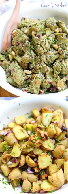 A tasty, creamy Roasted Potato Pesto Salad full of flavor! The taste and textures in this salad are out of this world from the crunchy walnuts, soft potatoes and creamy basil pesto. The perfect Summer side!! #BBQ #SUMMER #VEGAN #HEALTHY #GLUTENFREE