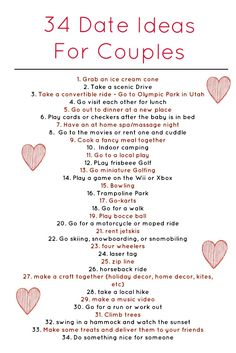 Here are 34 really awesome weekly date ideas for dating couples, married couples, and parents with kids. Click the picture to view the whole blog post!