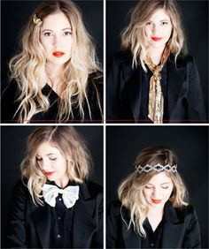 red lips lips lips. I love the simple make up and her ashy ombre color of her hair. sweet.
