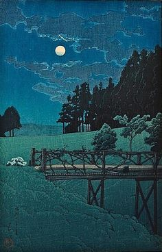 "Kawase Hasui (Japan, 1883-1957) - ""Akebibashi no yoru (Moon over Akebi Bridge)"", 1935 - Woodblock print"