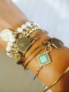 Pretty preppy jewelry bracelets gold pearls style turquoise diamonds bling preppy charms monogram