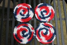 Red White and Blue Coasters / Face Scrub Set of 4 by AMedleyofJen