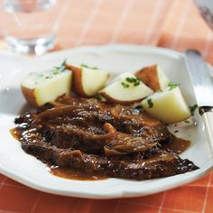 A little overnight soak gives our Slow-Cooker Brisket and Onions super meaty, punchy flavors (start today, end up with a delicious—hands-free dinner tomorrow).