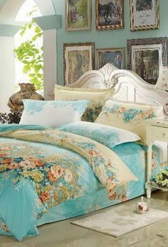 # bedroom # aquas, florals, pastel chic