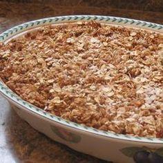 Suikerarme aardbeien-rabarbercrumble