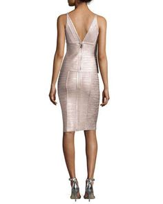 Herve Leger Sleeveless V-Neck Metallic Bandage Top & Pencil Skirt, Rose Gold