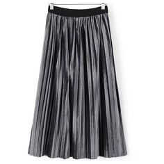Grey Pleated Velvet Midi Skirt (12.505 CRC) ❤ liked on Polyvore featuring skirts