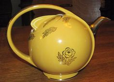 VINTAGE HALL AIRFLOW TEAPOT WARM YELLOW ORCHID GOLD LABEL DECORATION 8 CUP    eBay