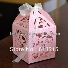 5*5*8.5cm Mery Custom laser cut  free ribbon baby shower gift box for baptism $87.00