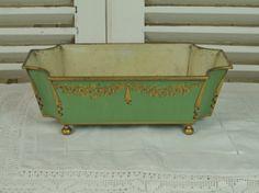 A020 - Sublime Antique French Green Gilded Toleware Planter / Jardiniere, C1900 - La Belle Étoffe