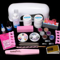 New 9W UV Dryer Lamp Block Sanding False Nail Art Tips Gel Tools DIY Salon Kit #61set