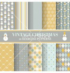 Christmas retro pattern set - 10 seamless patterns vector - by woodhouse84 on VectorStock®