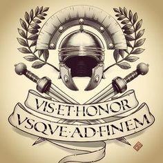 Strength and Honor Gladiator Tattoo Tatuagem Spqr, Spqr Tattoo, Gladiator Tattoo, Rome History, Spartan Tattoo, Totenkopf Tattoo, Roman Warriors, Roman Legion, Warrior Tattoos