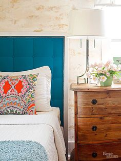Keep the eye moving around the room by using contrasting colors in its design.