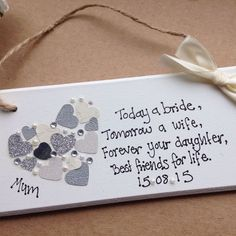 Wedding Gifts Diy personalised Gift Chic Heart Plaque Mother Of The Bride Gift Wedding Present in Home, Furniture Wedding 2017, Wedding Bride, Fall Wedding, Diy Wedding, Dream Wedding, Wedding Tips, Rustic Wedding, Wedding Stuff, Wedding Planning Quotes