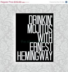 fall sale // Drinkin' Mojitos with Ernest by TheSilverSpider, $12.00