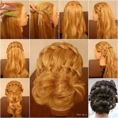 Hair style girl Step By Step for wedding Braided Hairstyles Updo, Diy Hairstyles, Step Hairstyle, Hairstyle Images, Crazy Hairstyles, Teenage Hairstyles, Formal Hairstyles, Braided Updo, Hairdos