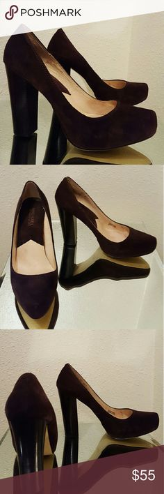 """Micheal Kors pumps Mocha brown suede, 4 1/2"""" heel, worn once - purchased too small : (. Micheal Kors Shoes Heels"""