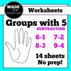 Groups with 5 - Subtraction worksheets (x14)