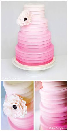 Pink Ombre 3 tiered cake with peony decoration #cakes #sugarcraft #weddings