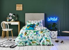 Gorgeous, hand painted safari animals feature on this quilt cover set from Adairs Kids. The unique pattern is perfect for animal lovers, and will be a favourite for years to come. Made from cotton and fully reversible for an alternate look.