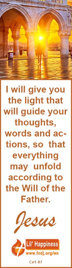 I will give you the light that will guide your thoughts, words and actions, so  that everything may  unfold according to the Will of the Father. #jesus #faith