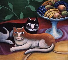 Jerzy Marek Polish) is known for his small scale primitive-naive pieces which show a variety of cats with enigmatic expressions in interiors. Adam And Eve, White Cats, Naive Art, A 17, Artist Art, Cat Art, Art Images, Folk Art, Cat Lovers
