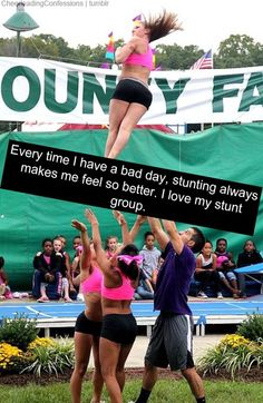 cheer quotes There's no bad mood stunting can't fix! You use your anger to throw her, then you're instantly happy because your basket was so high(: Cheer Qoutes, Cheerleading Quotes, Gymnastics Quotes, Cheer Sayings, Cheer Coaches, Cheer Stunts, Cheer Dance, All Star Cheer, Cheer Mom