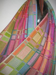 YOUR CUSTOM ORDER  Handwoven Geometric Silk Shawl, Hand Dyed Doubleweave, Accessories by Tisserande on Etsy, $395.00