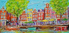 Nu in de #Catawiki veilingen: Mathias - Canal of Amsterdam, cafe street