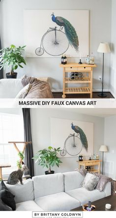 My Massive DIY Faux Canvas Art...see how I made this huge and GORGEOUS piece of art for under $100!
