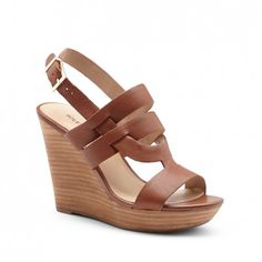 Cute Taupe Leather Platform Wedges