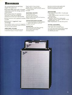 vintage fender catalog | Fender 1970 guitar and bass catalogue. Page 59. Details of the Fender ...