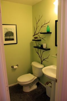 tree branch wall shelves | Trees painted on walls