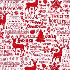 Reindeer And Christmas Words Jolly White Quilt Sew Fabric Timeless Treasures & Garden Christmas Scrapbook Paper, Christmas Fabric, Christmas Decoupage, Christmas Patterns, Christmas Words, Reindeer Christmas, Christmas Graphics, Christmas Minis, Christmas Time
