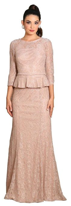 This elegant mother of the bride dress features 3/4 sleeve, waistband and lace material. This dress is great for wedding, evening party and other special occasion. Fabric : Lace Zipper Back Length : F
